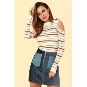 Lovely Casual Dew Shoulder Apricot Knitting Sweate