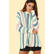Lovely Casual Striped  White Acrylic  Sweaters