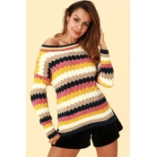 Lovely Casual Patchwork Yellow Acrylic Sweaters