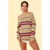 Lovely Trendy Dew Shoulder Khaki Acrylic Sweaters