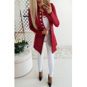 Lovely Temperament Buttons Decorative Red Coat
