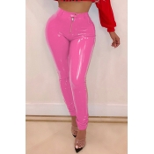 Lovely Fashion Zipper Rose Red PU Pants