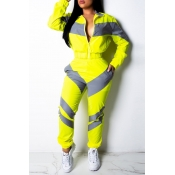 Lovely Casual Color-lump Patchwork Yellow Two-piece Pants Set