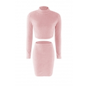 Lovely Casual Slim Pink Knitting Two-piece Skirt S