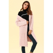 Lovely Casual Pockets Pink Blending Cardigan Sweat