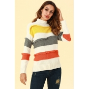 Lovely Casual Patchwork White Blended Sweaters