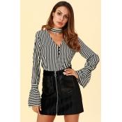 Lovely Chic Striped Black  Blouses
