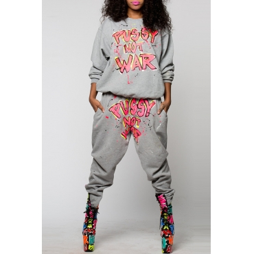 Lovely Casual Letters Printed Grey Blending Two-piece Pants Set