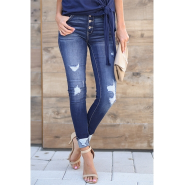 Lovely Fashionable Worn Out Design Blue Denim Jeans