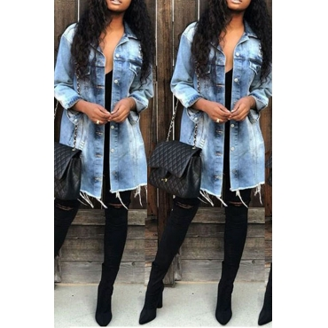 Lovely Casual Broken Holes Baby Blue Denim Coat
