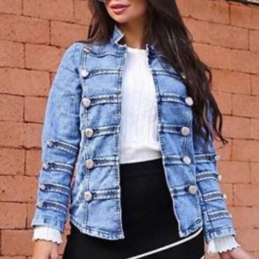 Lovely Casual Double Breasted Design Blue Denim Coat