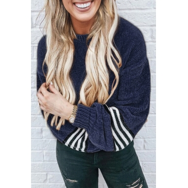 Lovely Chic Striped Patchwork Deep Blue Velvet Sweaters