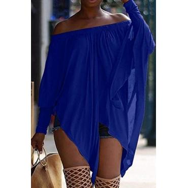 Lovely Casual Long Sleeves Blue Blending Bat T-shirt