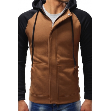 Lovely Casual Patchwork Light Tan Polyester Cotton Hoodies