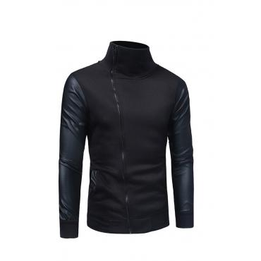 Lovely Casual Long Sleeves Zipper Black Blended Hoodies