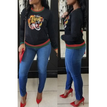 Lovely Casual Tiger Embroidery Black Hoodies