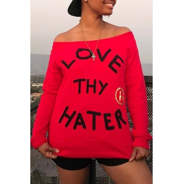 Lovely Casual Letters Printed Red Cotton Hoodies