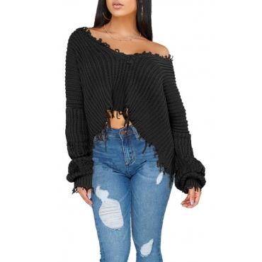 Lovely Casual Torn Edges Black Blending Short Sweaters