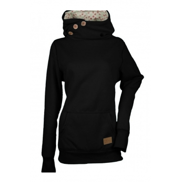 Lovely Casual Long Sleeves Buttons Black Hoodies