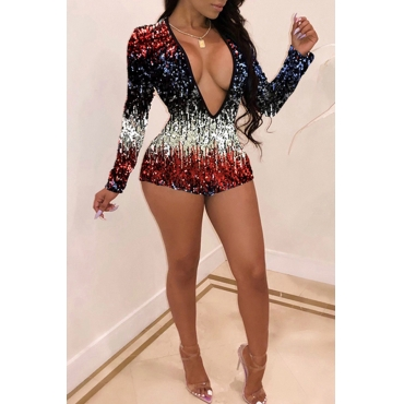 Lovely Sexy Sequined Decorative White Blending One-piece Rompers
