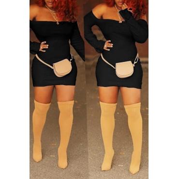 Lovely Casual Long Sleeves Black Blending Mini Sheath Dress