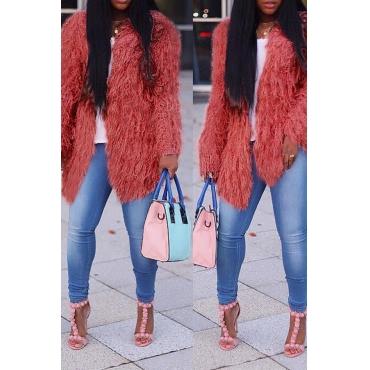 Lovely Casual Long Sleeves Pink Velvet Coat