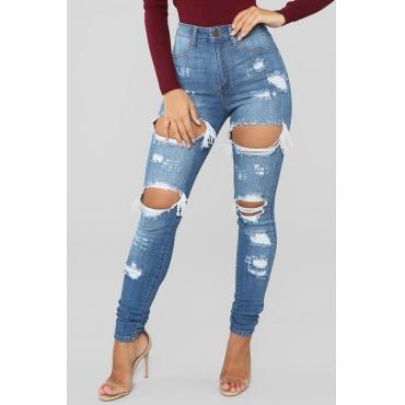 Lovely Trendy Broken Hole Blue Denim Jeans