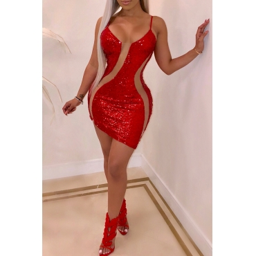 Lovely Sexy Sequined Decorative Red Blending Mini Dress