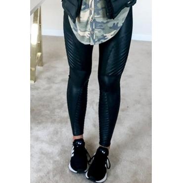 Lovely Casual Skinny Black PU Leggings