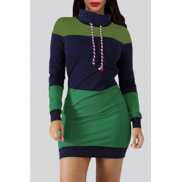 Lovely Euramerican Patchwork Green Mini Dress