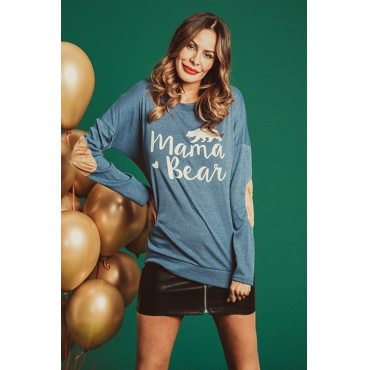 Lovely Casual Letters Printed Blue Modal T-shirt