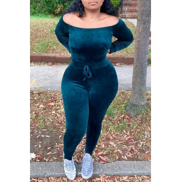 Lovely Casual Long Sleeves Black Green Skinny One-piece Jumpsuit
