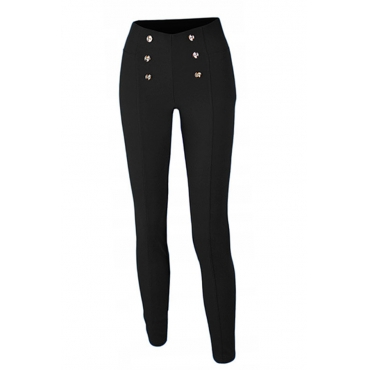 Lovely Fashion Buttons Black Knitting Skinny Pants