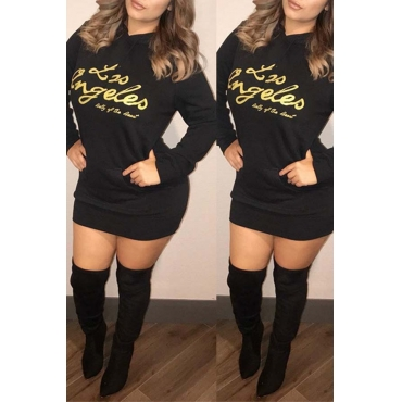 Lovely Casual Letters Printed Black Cotton Mini Dress