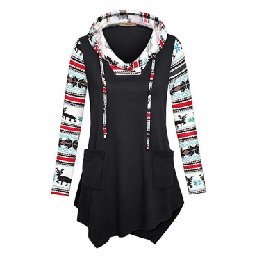Lovely Casual Printed Patchwork Black Cotton Hoodies
