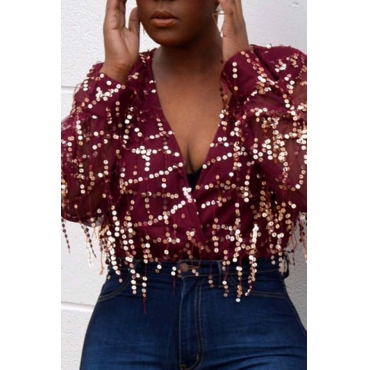 Lovely Sexy Tassel Sequined Decorative Wine Red Shirts