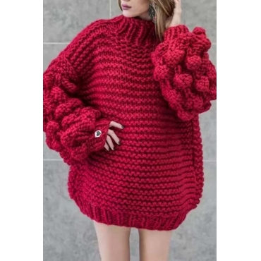 Lovely Casual Puff Sleeves Wine Red Cotton Sweaters