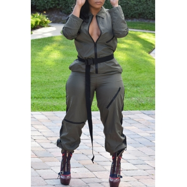 Lovely Casual Long Sleeves Zipper Army Green One-piece Jumpsuit(With Belt)