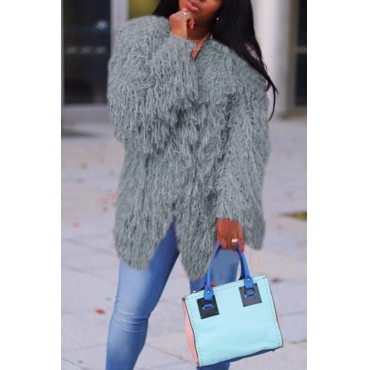 Lovely Casual Long Sleeves Grey Velvet Coat