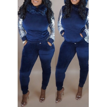 Lovely Casual Sequined Patchwork Blue Two-piece Pants Set