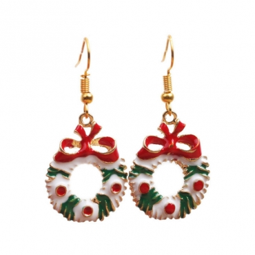 Lovely Fashion Christmas Wreath Earring