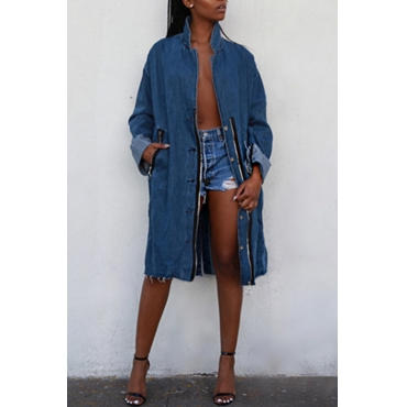 Lovely Vintage Zipper Blue Denim Long Coat