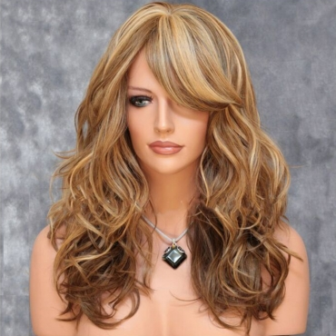 Lovely Fashion Oblique Bangs Big Wave Long Curly Brown Wigs