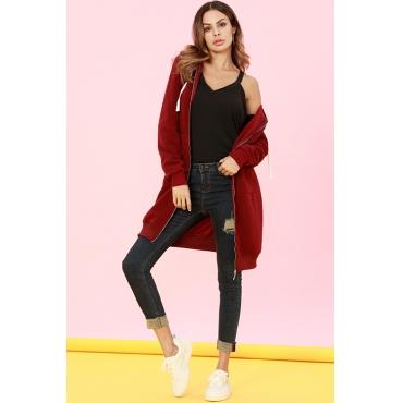 Lovely Casual Long Sleeves Purplish Red Long Coat