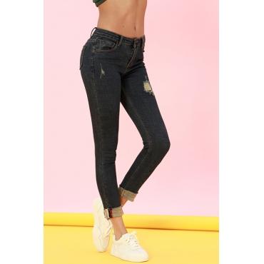 Lovely Casual Broken Holes Deep Blue Denim Jeans