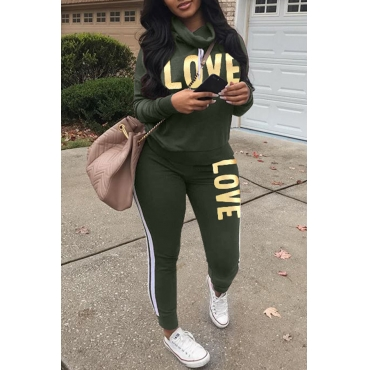 Lovely Sportswear Letters Printed Green Twilled Satin Two-piece Pants Set