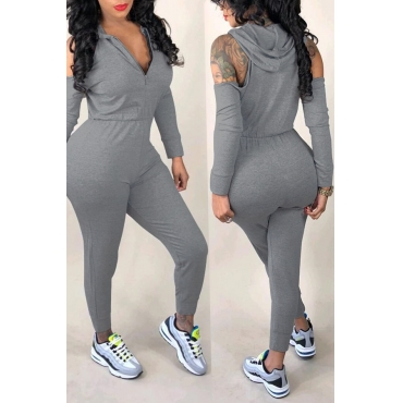 Lovely Casual Hollowed-out Grey Knitting One-piece Jumpsuit
