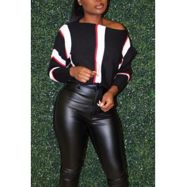 Lovely Casual Patchwork Black Twilled Satin Sweaters