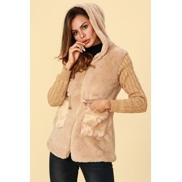 Lovely Trendy Patchwork Light Tan Cotton Coat