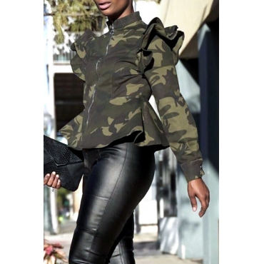 Lovely Casual Camouflage Printed Green Jacket